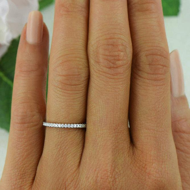 Hochzeit - Small Half Eternity Ring, 1.5mm Wedding Ring, Engagement Ring, Man Made Diamond Simulants, Bridal Ring, Round Wedding Band, Sterling Silver