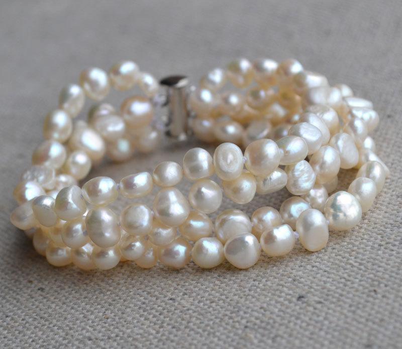 Свадьба - pearl bracelet - 4 Rows 8 inches 6-7mm ivory Freshwater baroque Pearl Bracelet, bridesmaid jewelry, wedding bracelet, real pearl bracelet