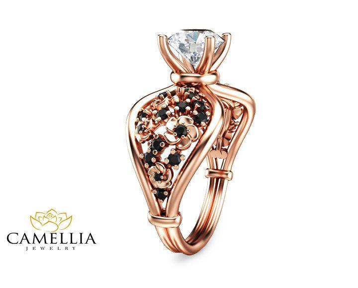 Wedding - Moissanite Custom Engagement Ring 14K Rose Gold Black Diamonds Ring Custom Engagement Ring