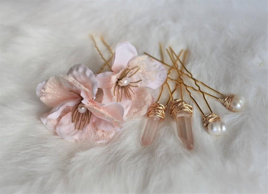 Mariage - Rose Quartz, Pearl, Flower Bridal Hair Pins, Crystal Hair Pins, Wedding Hair Accessories