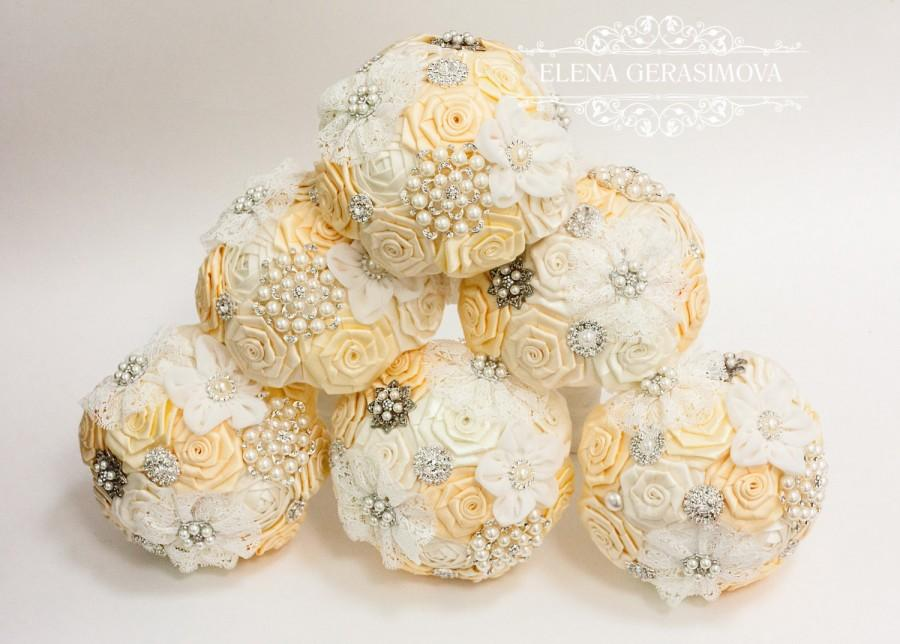 زفاف - Wedding Toss bouquet, Ivory bouquet, Wedding Accessories, Wedding set.