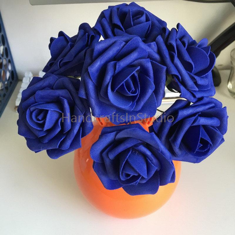 100 Cobalt Blue Wedding Flowers Diameter 8cm Fake Roses Dark Blue