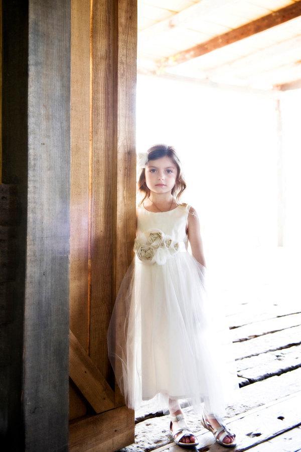 Mariage - Vintage style Flower Girl Dress,  natural Organic cotton flower girl dress, lace flower girl dress, tulle flower girl dress