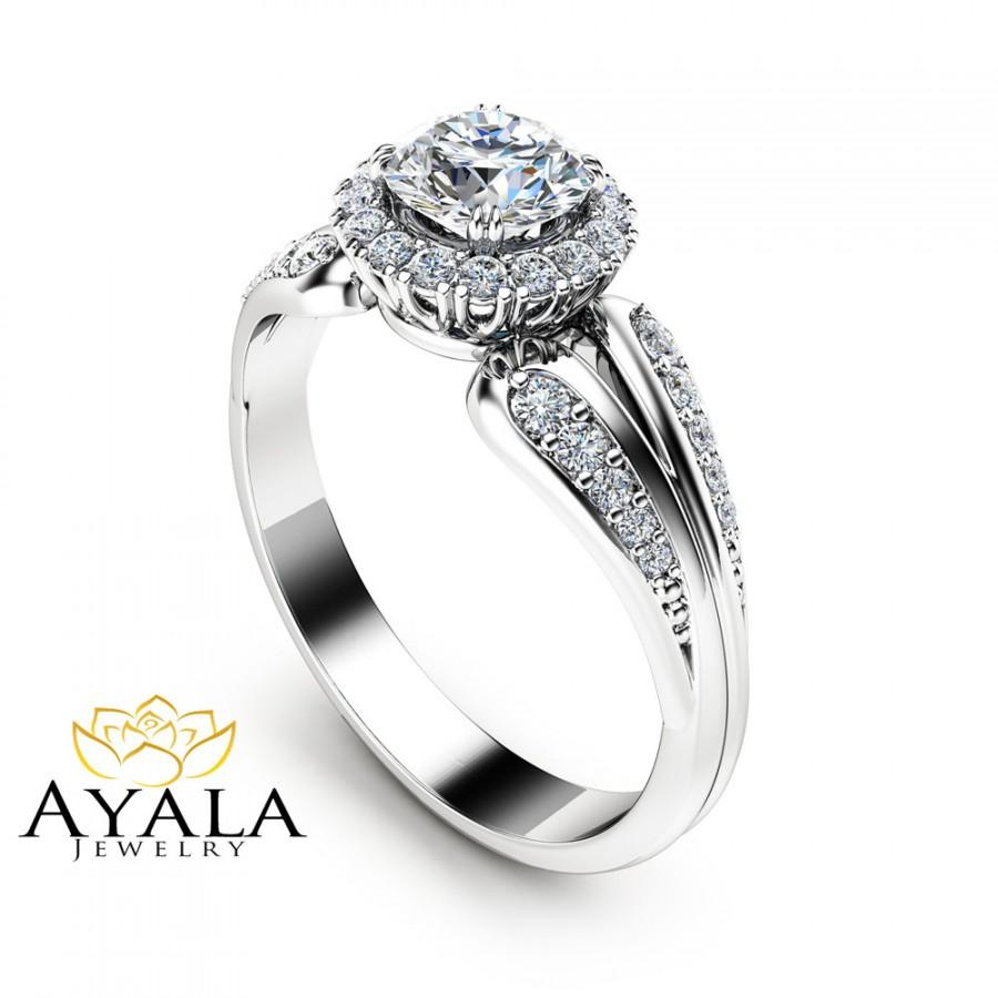 Свадьба - Unique Engagement Ring Natural Diamond Engagement Ring Unique Vintage Ring White Gold Halo Ring