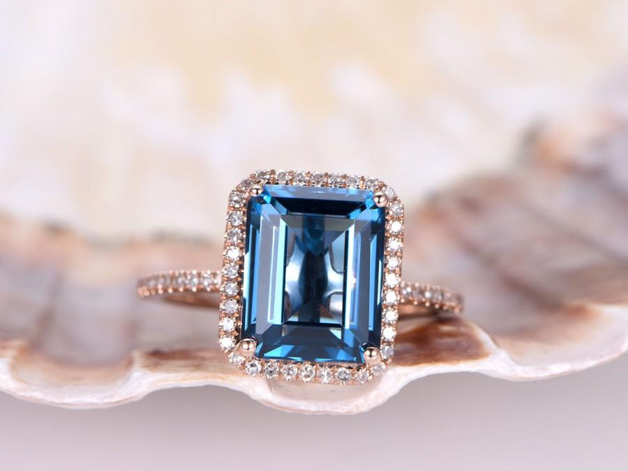 زفاف - Big 10x8mm IF London blue topaz ring,diamond engagement ring,solid 14k Rose gold band,stacking style,Emerald Cut blue stone,bridal ring