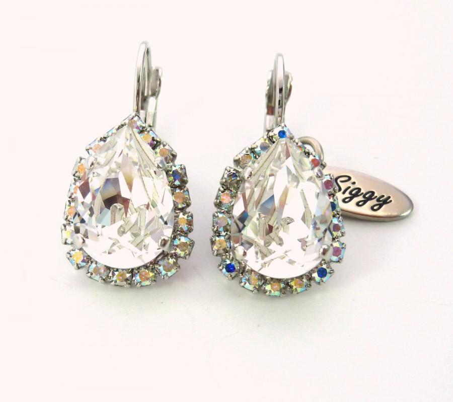 Hochzeit - Swarovski Crystal Pear Drop Earrings, Bridal Clear Crystal with AB Halo, Halo Tear Drop, Bridal Shower, Siggy Jewelry, FREE SHIPPING