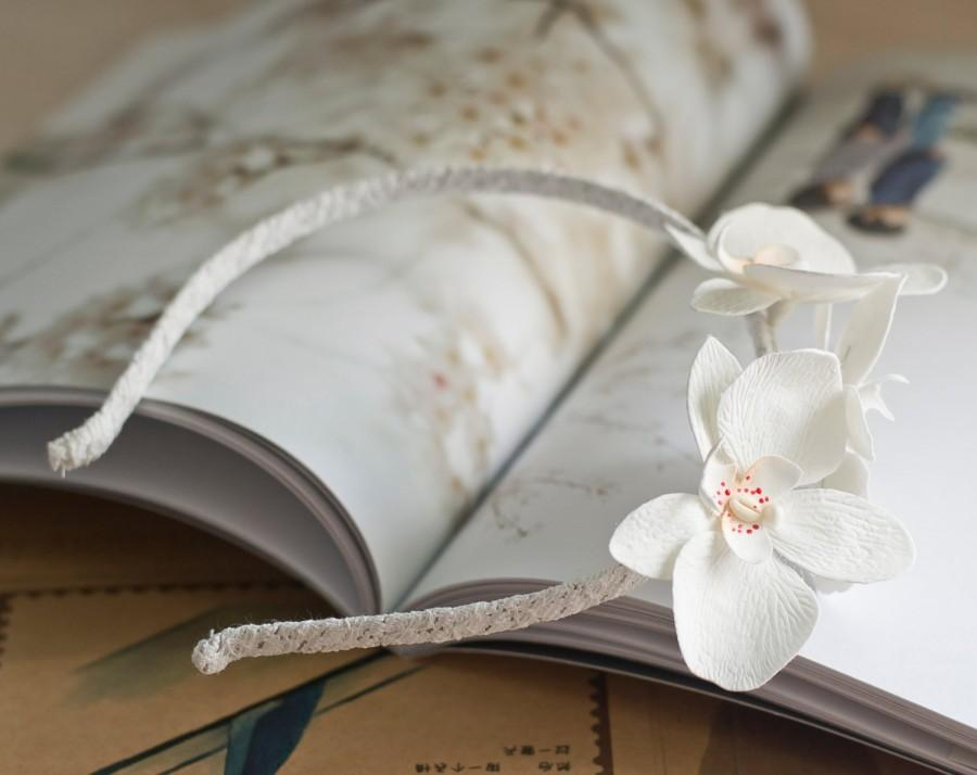 Свадьба - White orchid headband - orchid flower headband - orchid crown - floral headband, bridal accessories, wedding bridal hair