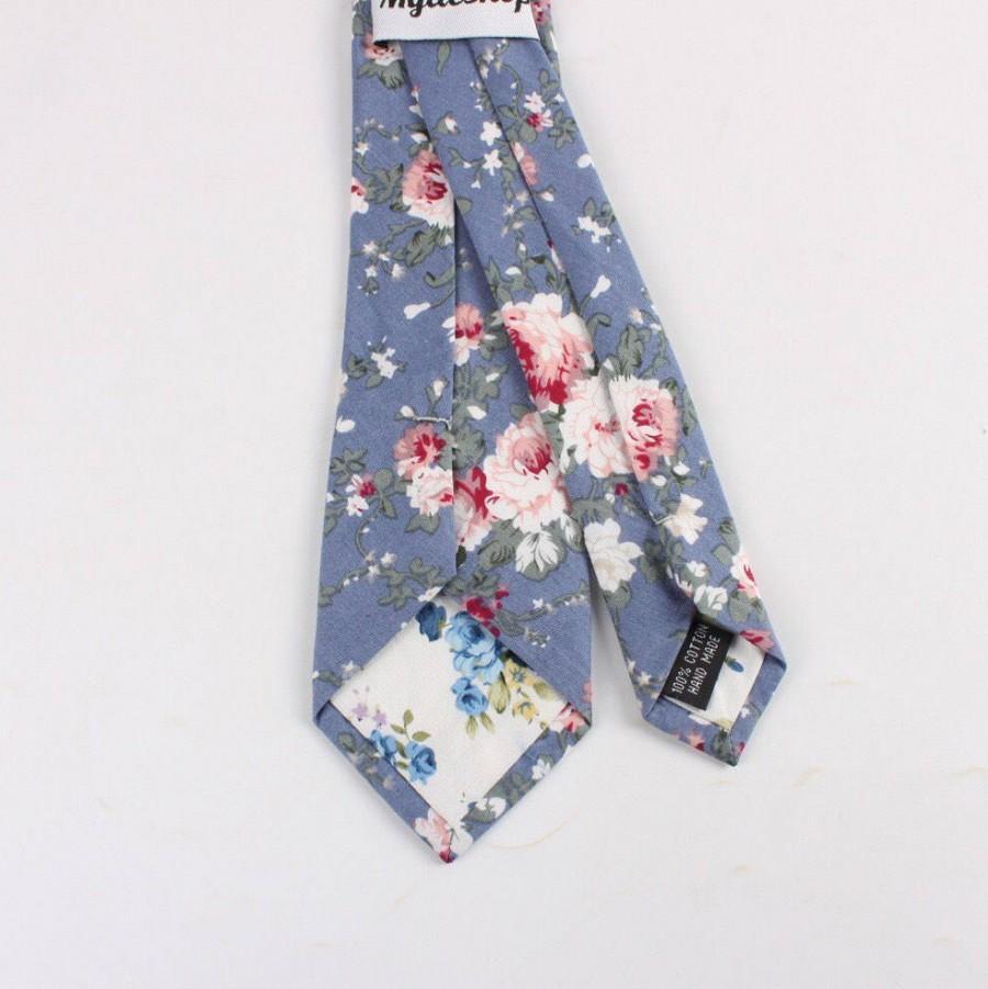 """Mariage - Blue Floral Skinny Tie 2.36"""" Retro flower Groomsmen"""