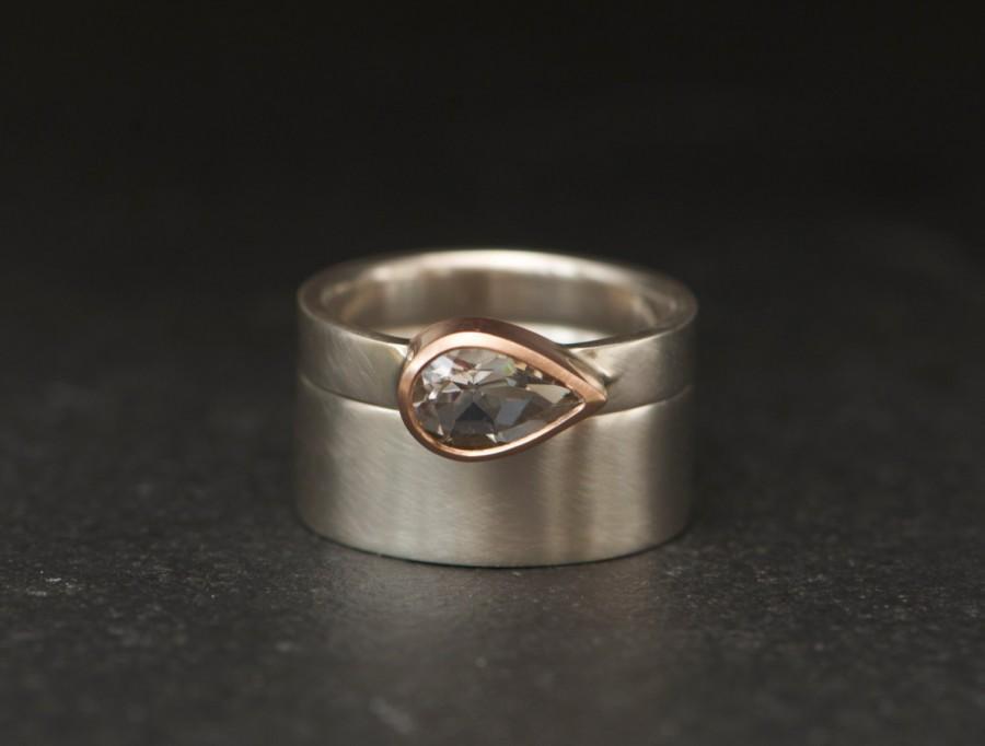 Wedding - Pear White Topaz Wedding Set - White Topaz Engagement Ring and Matching Wedding Band - Handmade Wedding Set - Made to Order - FREE SHIPPING