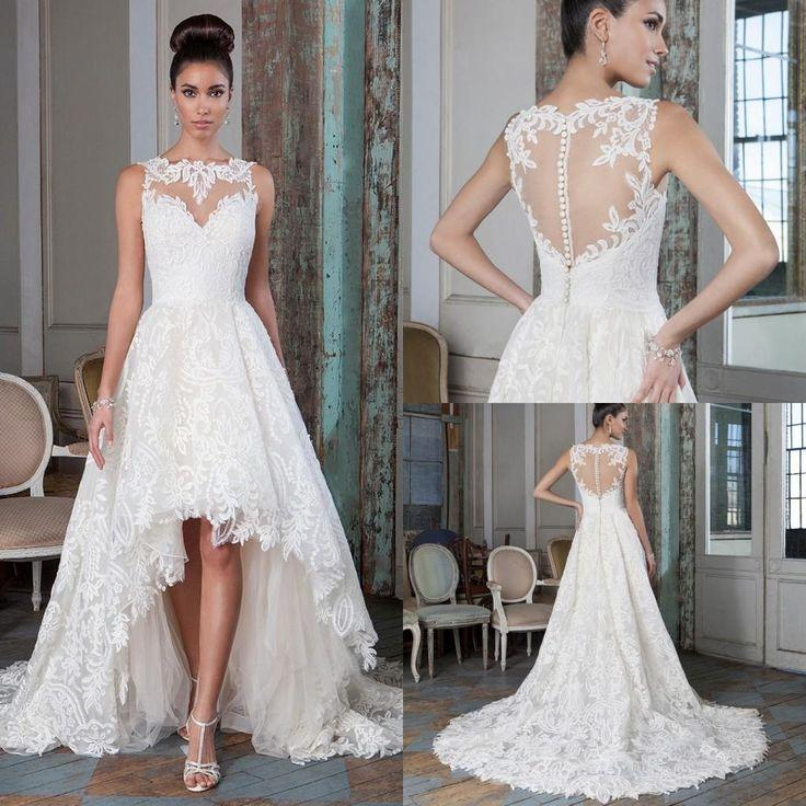 Plus Size Lace A Line Wedding Dresses 2016 High Low Court Train