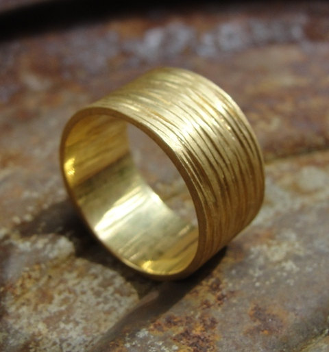 Mariage - Hammered Wedding Band , Texture Wedding Ring - Gold Wedding Band - Wedding Ring -  Unisex Wedding Ring - 18k Yellow Gold Wedding Ring