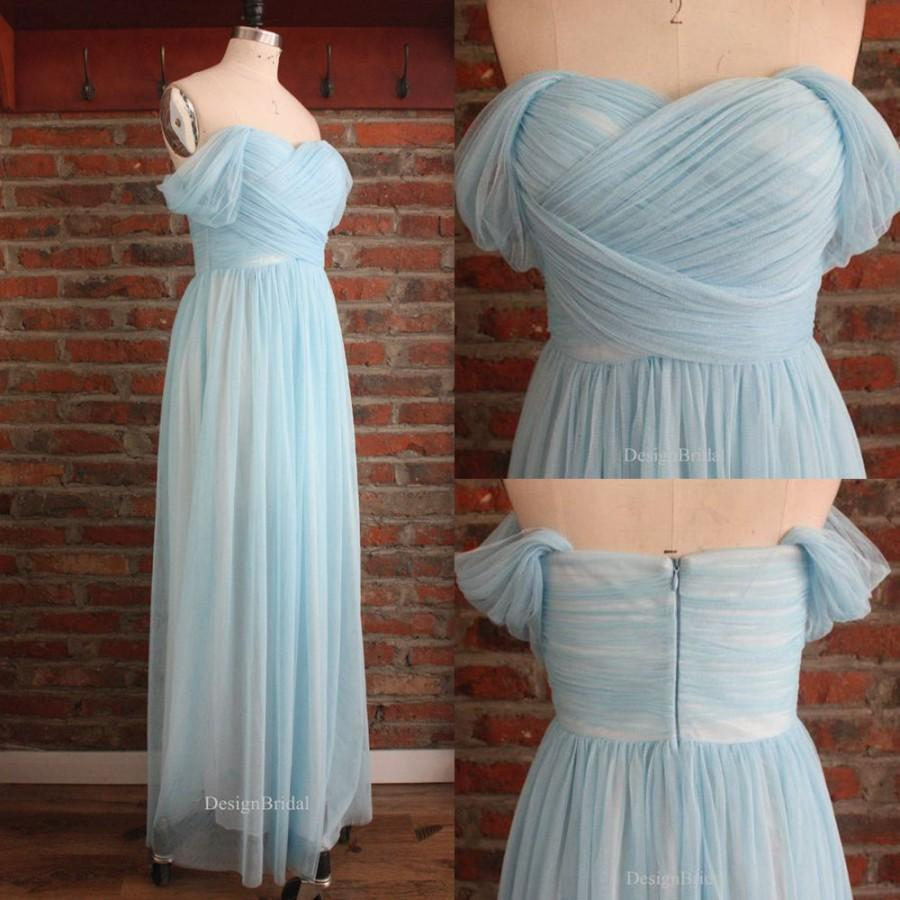 Off Shoulder Prom Dress Pleated, Tulle Bridesmaid Dress, Long Tulle ...