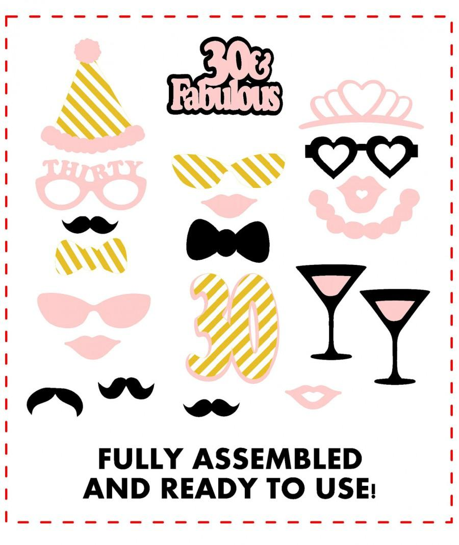 30 And Fabulous Party 21 Pc Birthday Photo Booth Props Blush Gold For Her 30th Decorations