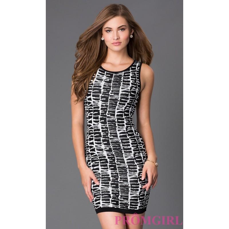 زفاف - Short Black and White Print Dress by XOXO - Brand Prom Dresses