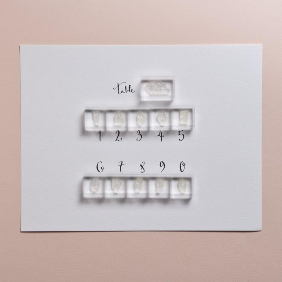 Mariage - Wedding Calligraphy Place Cards stamp -includes 0-9 Number Stamps