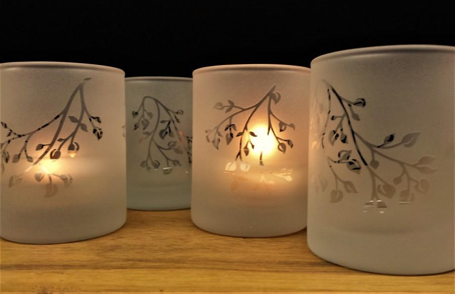 Frosted Branches And Leaves Set Of Four Engraved Glass Votive