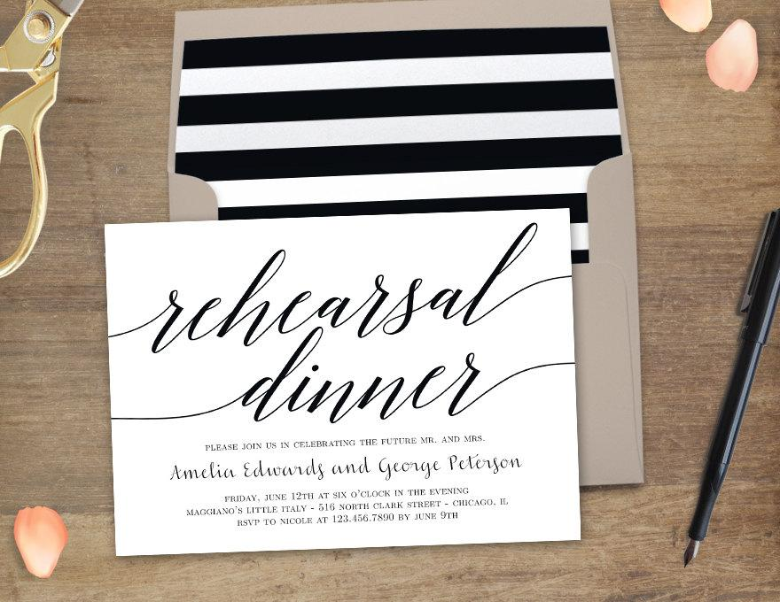 زفاف - Printable Rehearsal Dinner Invitation - MODERN SCRIPT - with Bonus Printable Envelope Liner