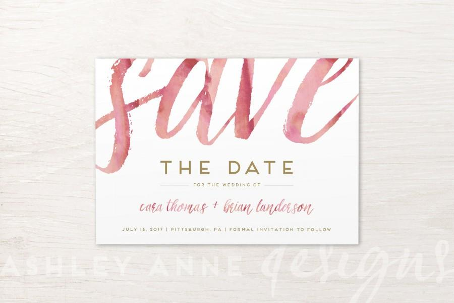 Mariage - Save The Date Watercolor, Wedding Save the Date Cards, Pink and Gold, Burgundy, Rose, Blush, Marsala, Maroon, Simple, Calligraphy, Printable