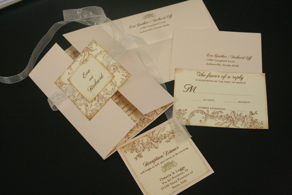 زفاف - Vintage Wedding Invitation Sets, Flowers & Flourish, French, Romantic, Marie Antoinette, Unique, Christian, Gold, Color Options