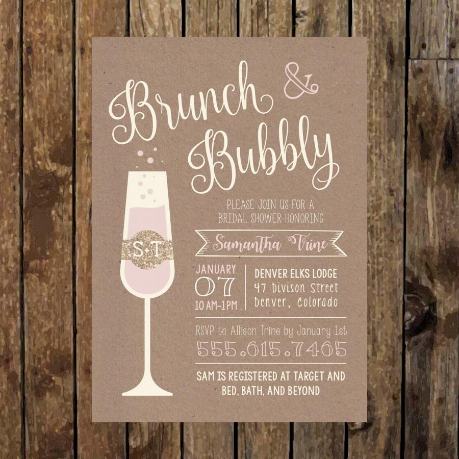 Mariage - 5 x 7 Printable Rustic BRUNCH & BUBBLY Bridal Shower Invitation. Bridal Shower Brunch. Champagne Brunch. Bridal Shower Invites. Chic Script.