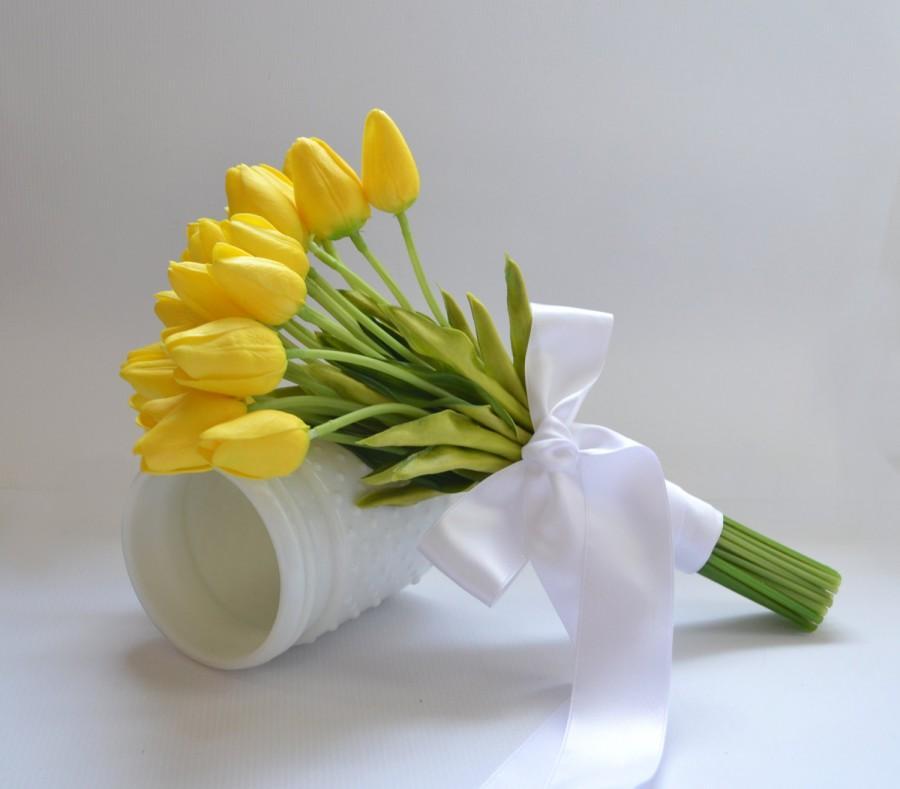 Mariage - Yellow Tulip Bouquet - Real Touch Tulip Bouquet Garden Flower Bouquet Spring Bouquet Spring Floral Arrangement Wedding Bouquet Bridesmaid