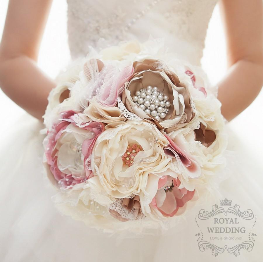 Fabric brooch bouquet fabric bouquet bridal bouquet wedding bouquet fabric brooch bouquet fabric bouquet bridal bouquet wedding bouquet pink blush and off white ivory fabric flower bouquet custom bouquet izmirmasajfo