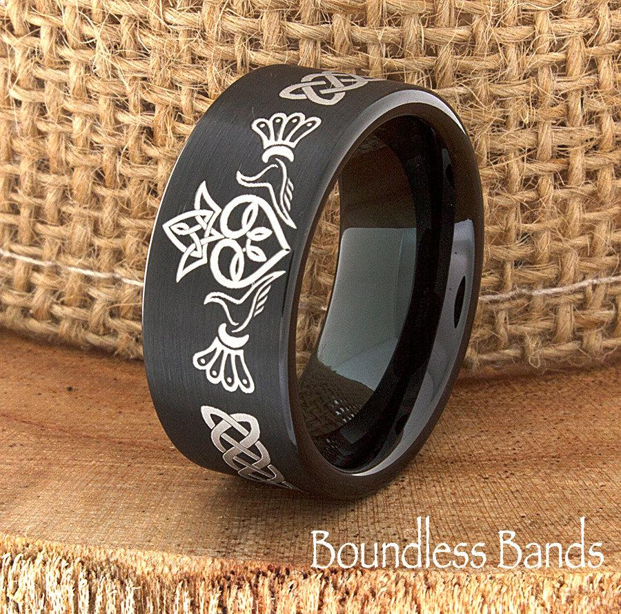 claddagh ring tungsten band irish claddagh ring 9mm celtic ring