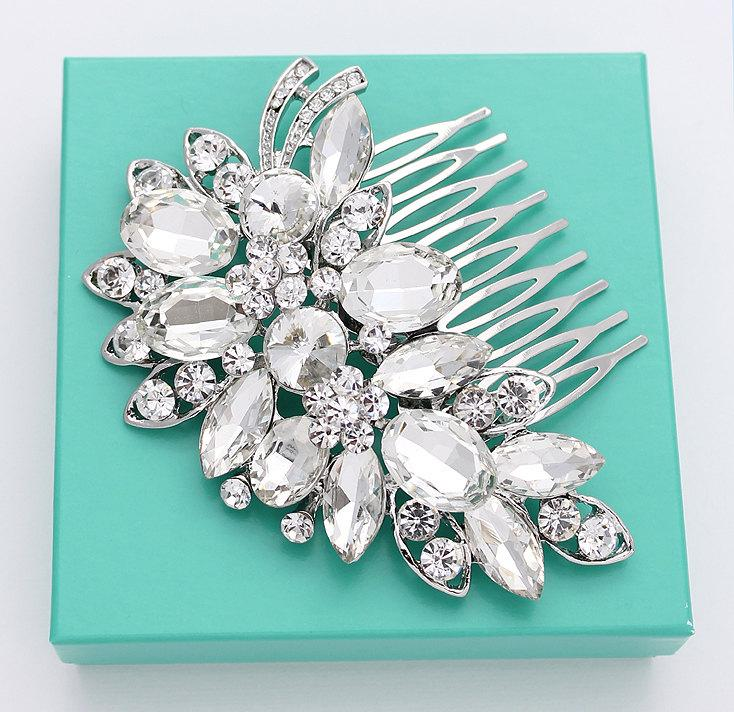 Свадьба - Crystal Silver Bridal Comb Rhinestone Headpiece Statement Bling Combs Vintage Old Hollywood Wedding Hair Accessory Hair Piece Combs Jewelry