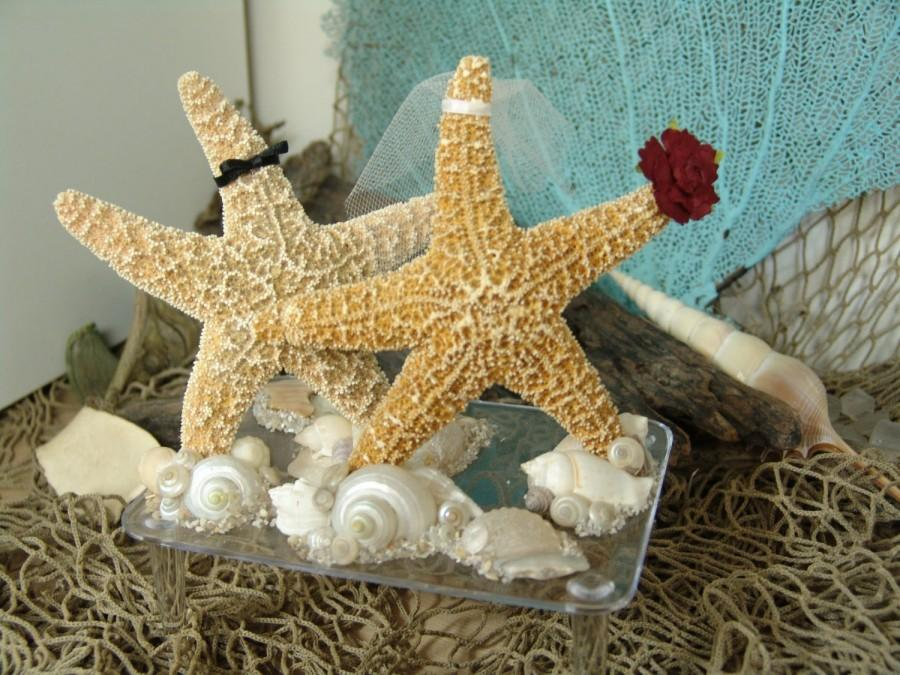 Свадьба - Coastal Wedding Decoration- Sugar Starfish Bride and Groom Alternative Cake Topper on clear base