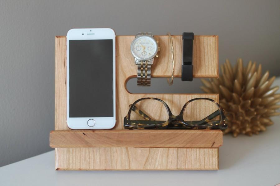 Mariage - THICK CHERRY Limited Quantities Premium Valet Gorgeous Wood  Reclaimed Cherry Wood Valet iPhone Galaxy Charging Stand Dock Graduation Father