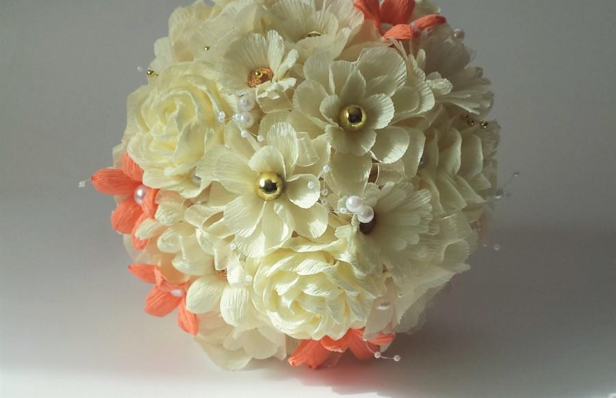 Mariage - Paper flowers. Bride bridesmaid bouquet, Crepe paper flowers, Wedding paper flowers, Paper Flowers, Crepe paper bouquet
