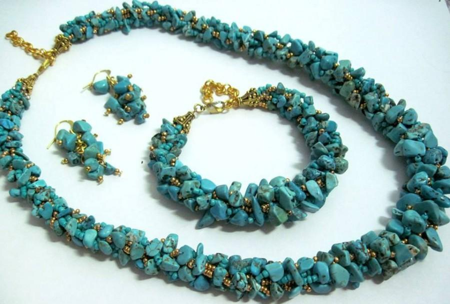 Mariage - FREE SHIPPING! Turquoise jewelry set  Blue jewelry Turquoise jewelry Stone jewelry  Turquoise necklace