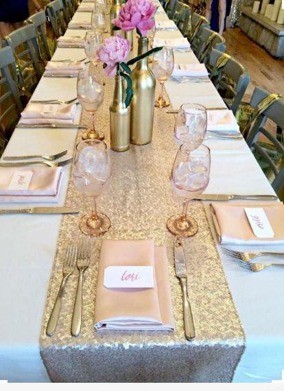 زفاف - 10 Champagne Gold Sequin Table runner,  Bulk order of 10 table runners, Champagne Sequin Table runner,Champagne and Gold Sequin Table Runner