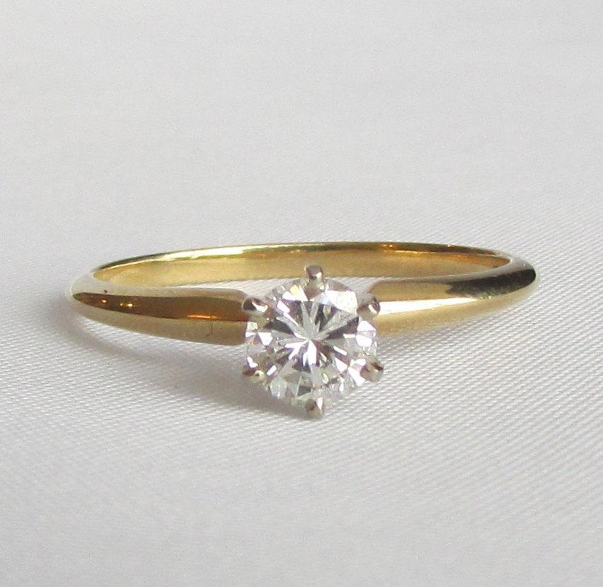 Свадьба - Diamond Solitaire Engagement Ring - .40 Ct SI1 Diamond! 14K Yellow Gold Shank - GIA Graduate Gemologist Appraisal Incl 840 USD!