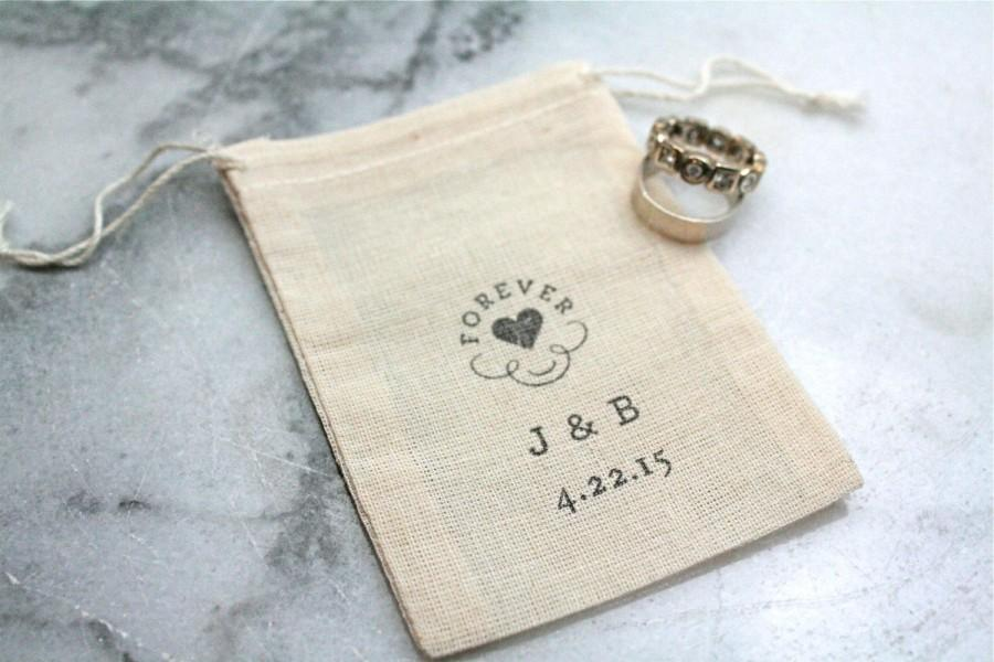 Personalized Wedding Ring Bag Rustic Muslin Ring Bag Ring Bearer