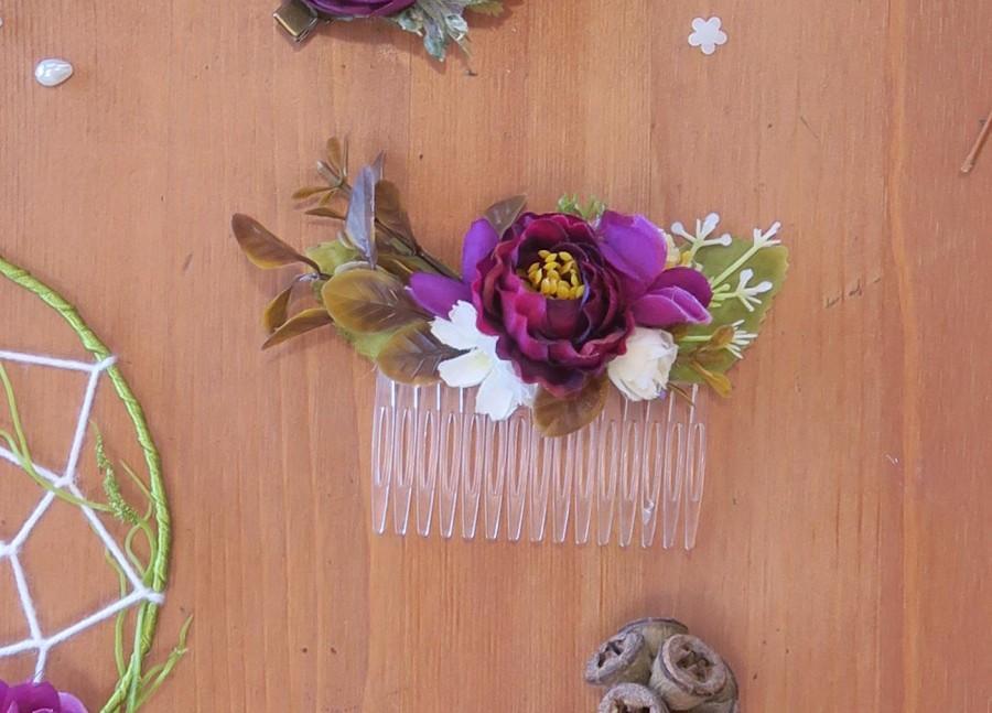 Свадьба - Bridal hair comb, Amaranth comb, Amaranth Flower hair comb for bride or bridesmaids, Rustic wedding, Boho wedding accessory, Country wedding