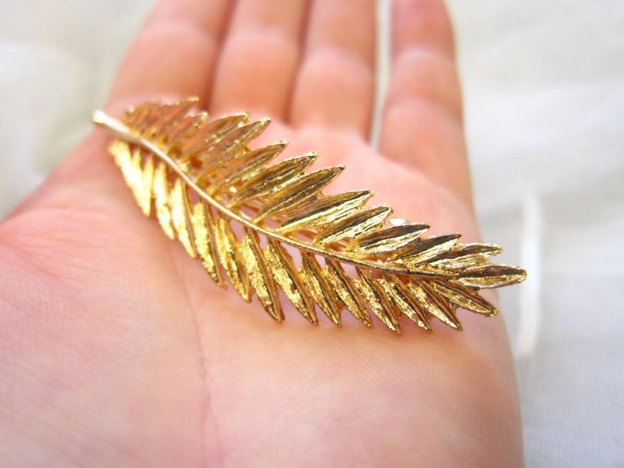Свадьба - Gold Grecian leaf hair clip, leaf hair barrette, wedding hair clip, gold leaf hair, woodland wedding, bridal hair accessory,  gold leaf clip