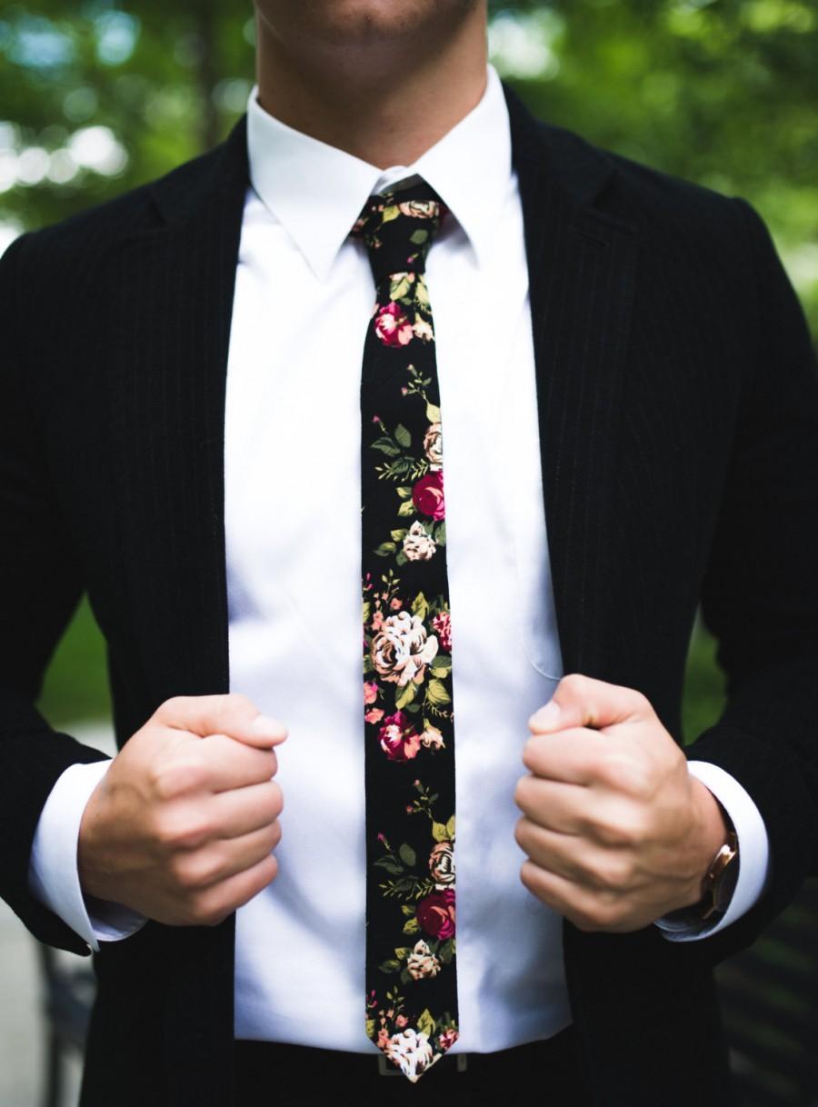 Black Floral Skinny Tie 2 Inch Necktie Retro 2703765 Weddbook