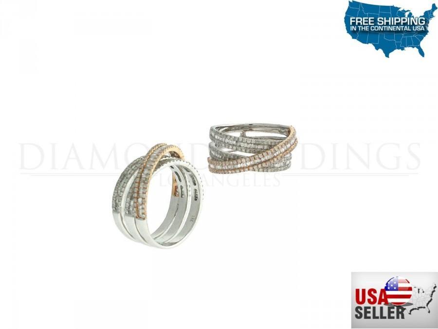 Mariage - 1.40ct Round Diamonds 18K Rose & White Gold Overlapping Band Ring - CUSTOM MADE