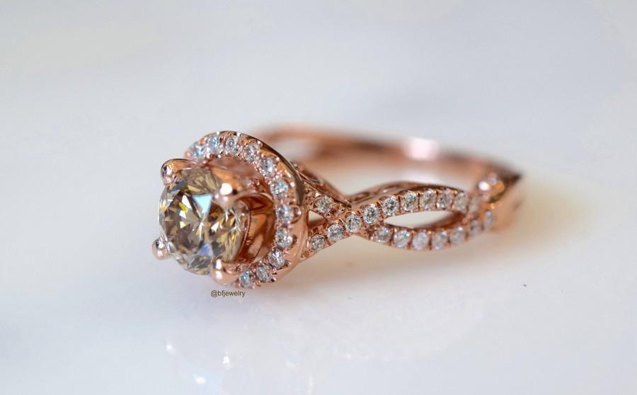 زفاف - 14K Gold Rose Gold 1.41 Carat Cognac Diamond Engagement Ring