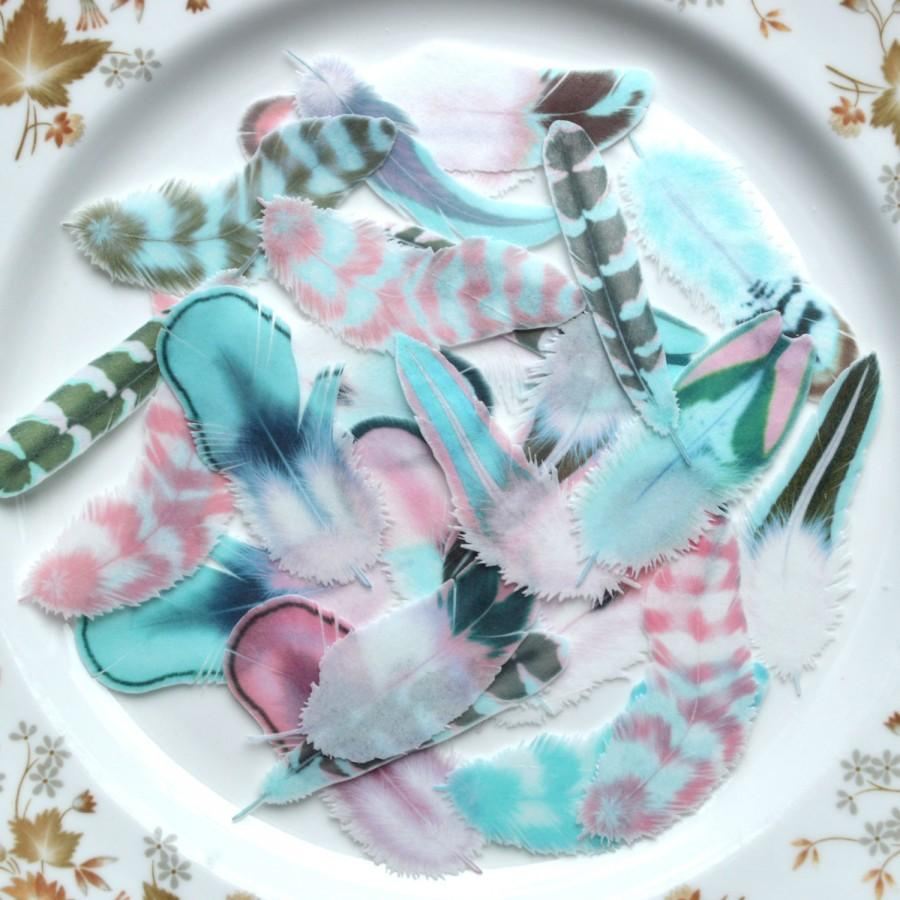 Mariage - Edible Feathers Persian Azure - Boho Wedding Cake Decorations Wafer Rice Paper Pink Blue Aqua Rustic Birthday Party Cupcake Toppers Cookies