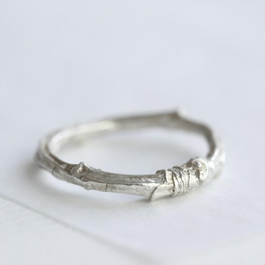 Mariage - Silver twig ring, twig wedding ring, cherry tree ring, nature ring, nature jewellery, woodland jewellery