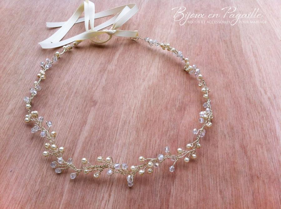 Wedding - READY TO SHIP - Wedding hair accessory - bridal crown - crystal beads and pearls