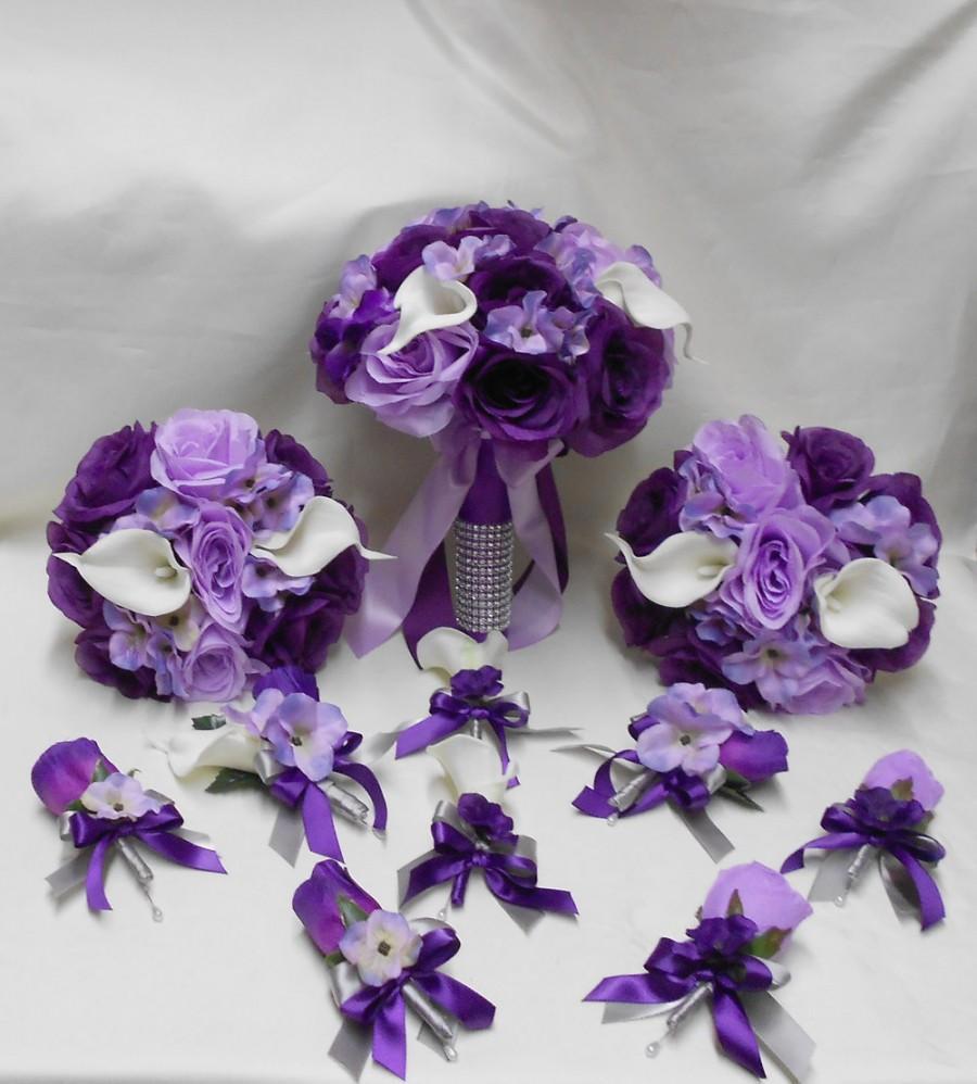 Wedding Silk Flower Bridal Bouquets Package Calla Lily Lavender
