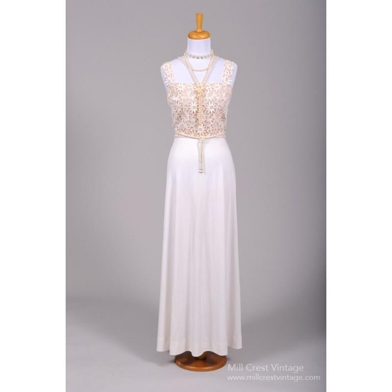 Wedding - Mill Crest Vintage 1970 Crocheted Daisy Vintage Wedding Gown -  Designer Wedding Dresses