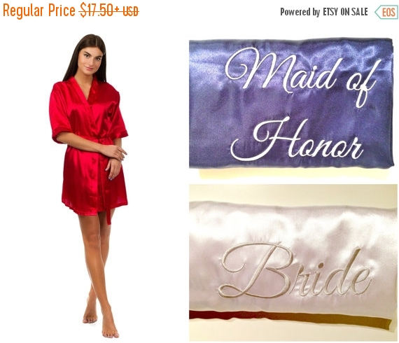 Mariage - SALE Bridesmaids robes with initials, Monogrammed wedding robes, Personalized bridesmaid gifts, Cheap robes, Satin robes, Silver embroidery,