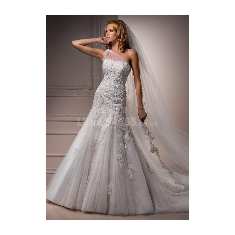 Wedding - Chic Long Tulle One Shoulder Fit N Flare Chapel Train Wedding Gown - Compelling Wedding Dresses