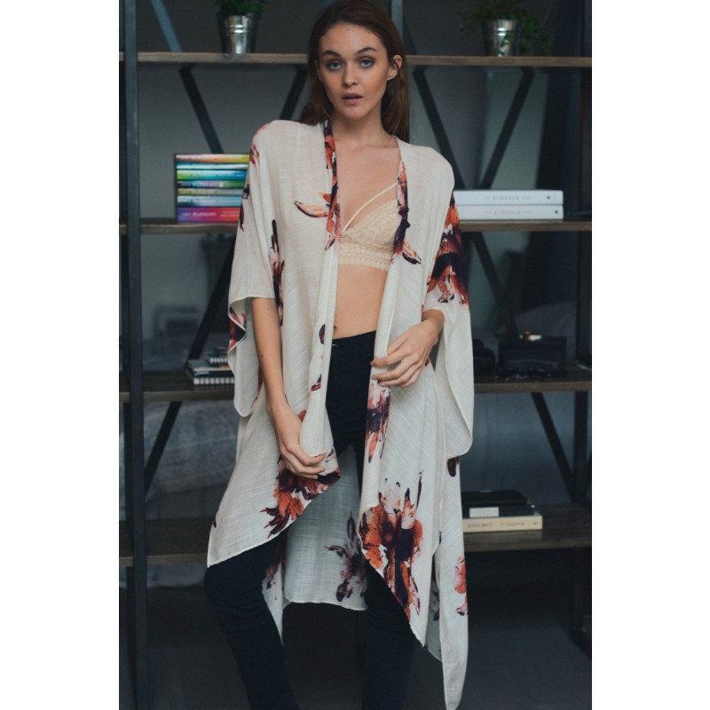 SALE Kimono, Flower Kimono, Beach Cover Up, Floral Print Kimono ...