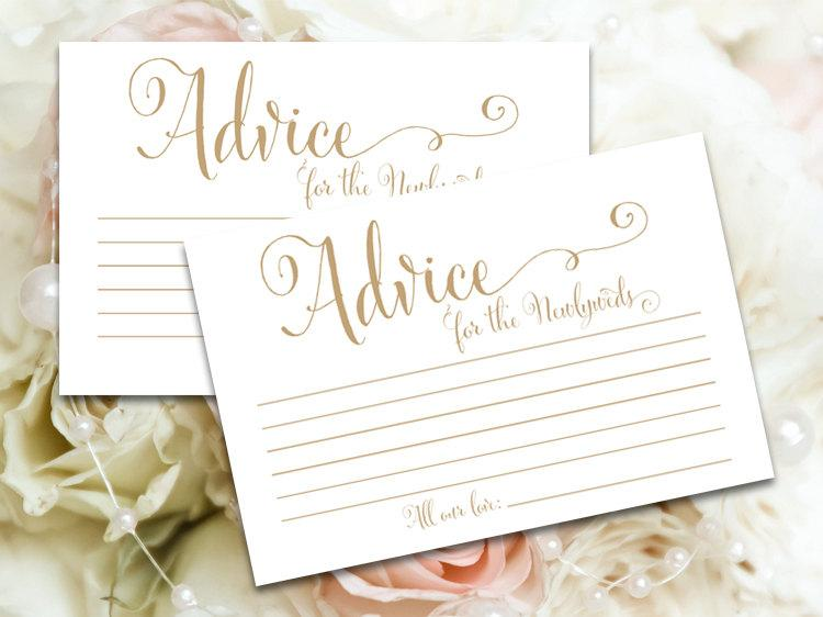 Mariage - Advice for the Newlyweds cards - 4 x 6 - DIY Printable cards in 'Bella' antique gold script - PDF and JPG files - Instant Download