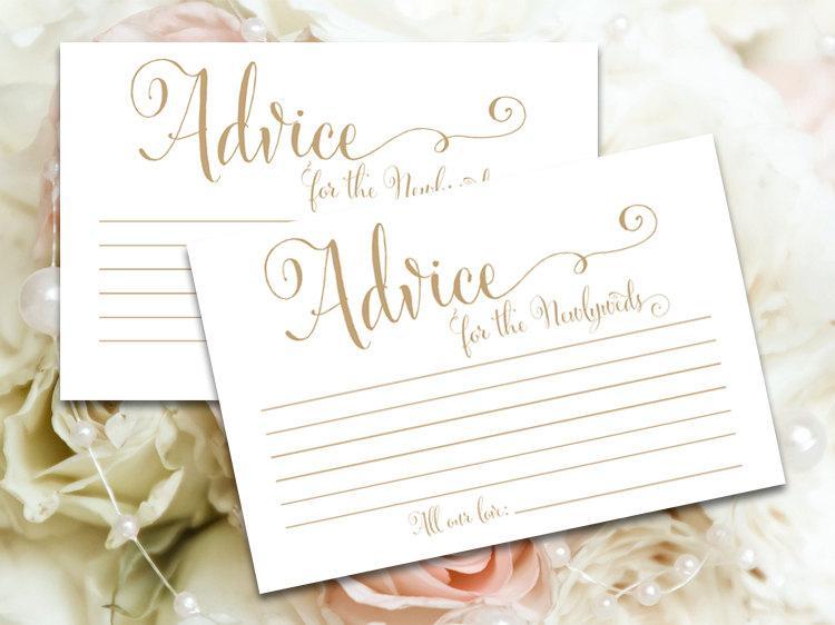 زفاف - Advice for the Newlyweds cards - 4 x 6 - DIY Printable cards in 'Bella' antique gold script - PDF and JPG files - Instant Download